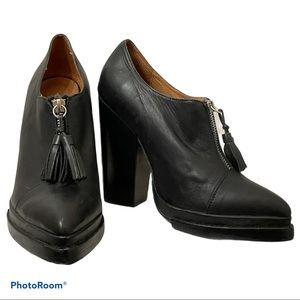 JEFFREY CAMPBELL Ibiza black zip front heels